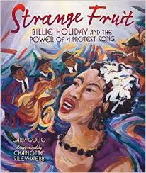 Illustration of Billie Holiday singing Strange Fruit, backed by a jazz combo.