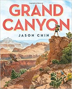 Cover of Grand Canyon shows child gazing across canyon from a red rock.
