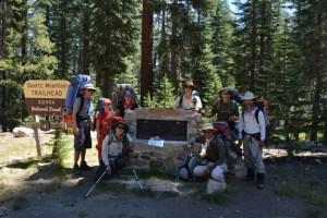 Hikers at trailhead.