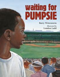 Cover of Waiting for Pumpsie shows young black boy watching baseball diamond