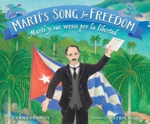 Cover of Martí's Song for Freedom shows Jose Marti in front of the Cuban flag