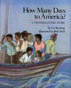 Cover of book shows refugees crowded on a small boat.