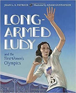 Cover of Long-Armed Ludy shows a female athlete throwing a shot put