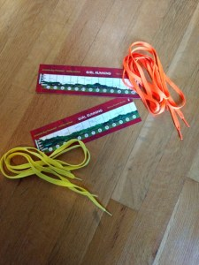 Bookmark and colorful shoelaces
