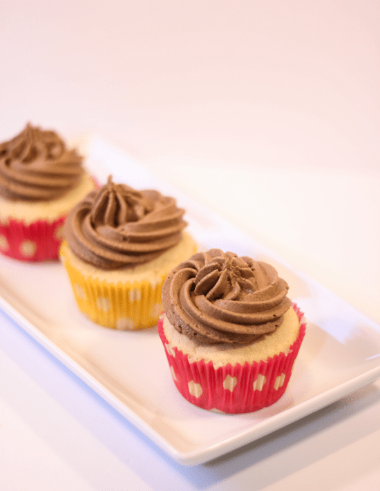 Vanilla Buttermilk Cupcakes with Chocolate Spread Frosting