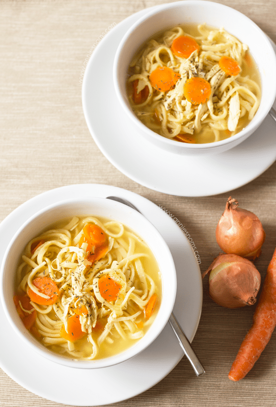 Chicken Noodle Soup   Annie's Noms - This Chicken Noodle soup is pure comfort in a bowl. With shredded chicken, egg noodles, carrots and onions, it's so easy to make and filled with flavour.