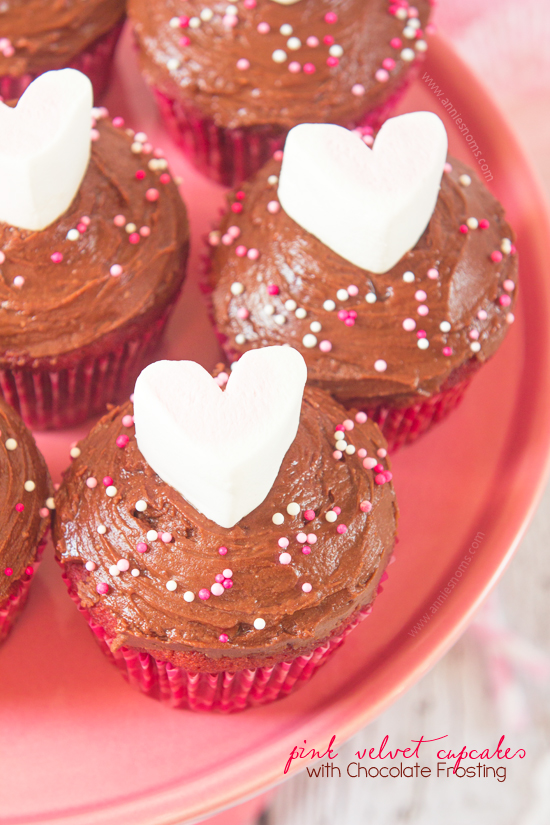 These Pink Velvet Cupcakes are not quite chocolate and not quite vanilla, but they are absolutely delicious! Soft, tender and topped with a rich, melted chocolate frosting; these are the perfect, simple dessert to make for your Valentine!