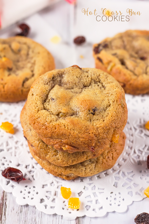 My soft and chewy cookie dough is packed with all the sweet, spicy flavours of Hot Cross Buns; mixed peel, raisins, sultanas and mixed spice. This is an Easter treat which will have you coming back for more!
