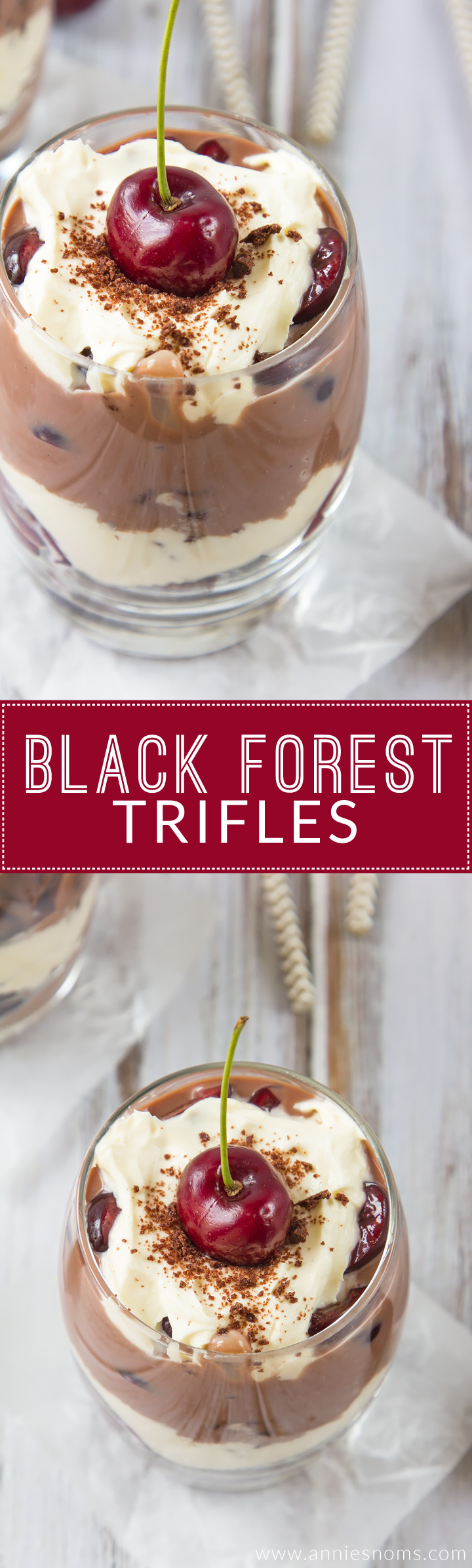My individual sized Black Forest Trifles are packed with rich chocolate cake, whipped cream, fresh cherries and a gorgeous, thick chocolate custard. A make ahead, no-bake dessert the whole family will love!