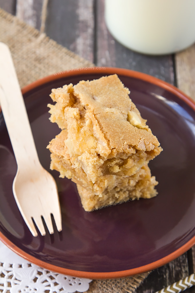 Soft, chewy Apple Blondies filled with spices and plenty of apple! Once baked, the apples get soft and tender and explode in your mouth. And with that typical flaky, crunchy topping you get on blondies, there's no better Autumnal blondie you could make!