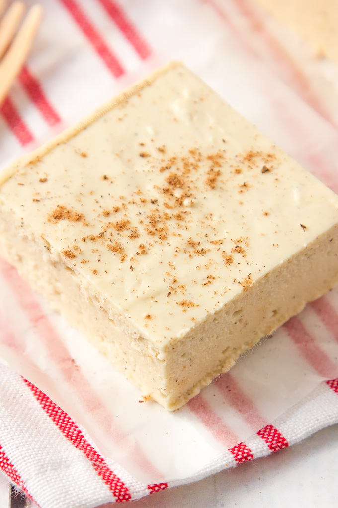 This easy Eggnog Fudge requires no thermometer to make! It is the perfect melt in your mouth, divine edible gift to make this Christmas!