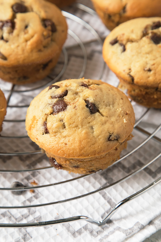 Soft, tender Chocolate Chip Muffins filled with an oozing Biscoff spread centre! A decadent breakfast, or a tasty dessert? You decide!