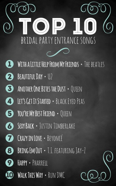 Top 10 bridal party entrance songs