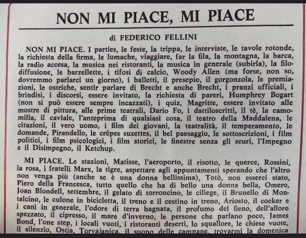 La lista di Federico Fellini: non mi piace mi piace
