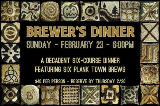 Plank Town Brewer's Dinner. Image: Plank Town Brewing.