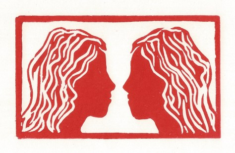 Double Female faces-linocut-red-edit