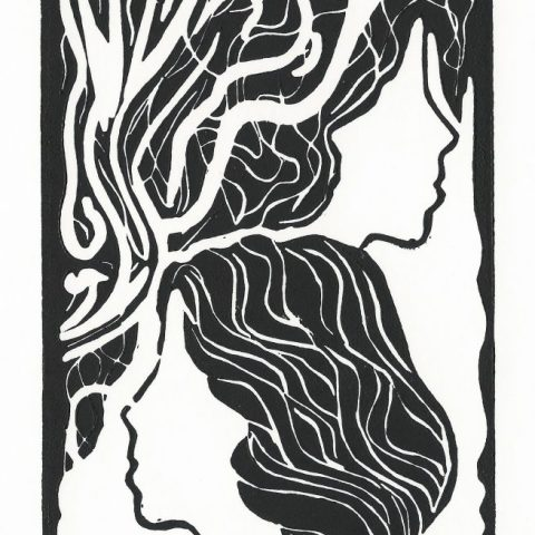 Stacked Female Heads-linocut-black-edit