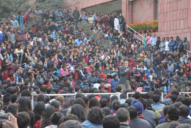 Prabhat Patnaik at Stand With JNU, 17 February 2016. Photo by Subin Dennis.