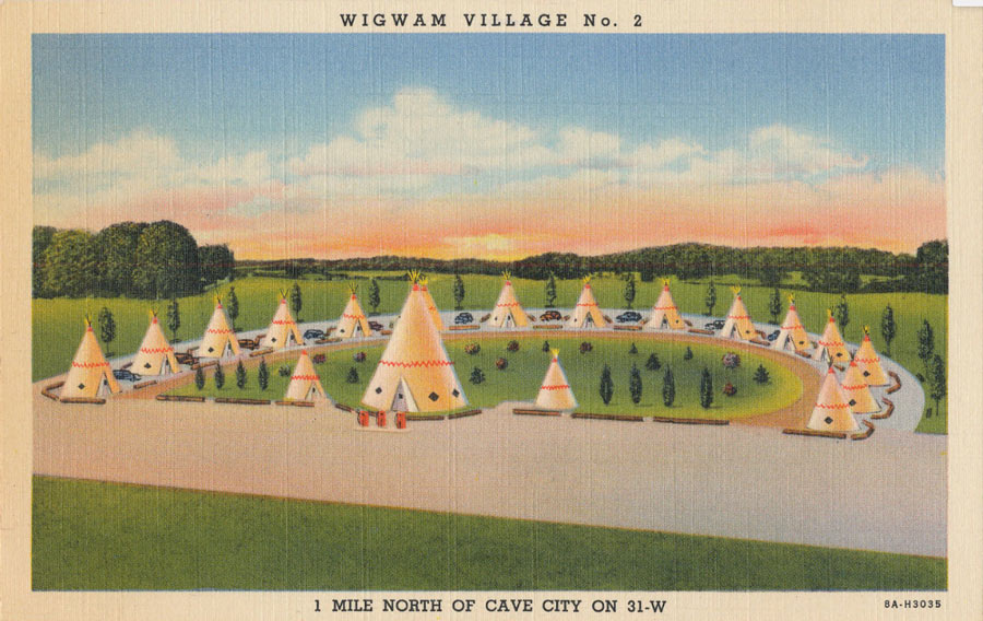 Vintage postcard advertising Wigwam Village #2 / Image from Clarence Melvin