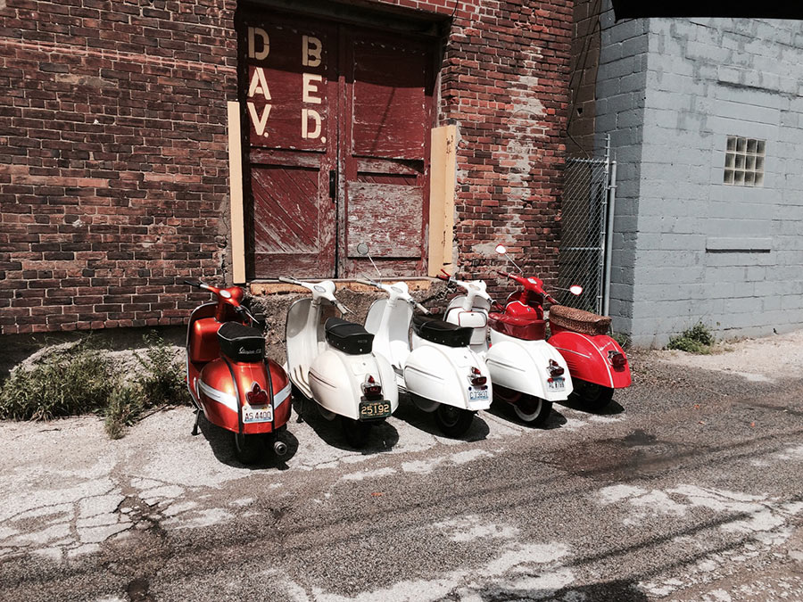 Scooters in the alley. Photo by Quinn Kirkpatrick of Small wonder Photography