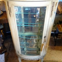 Pair of Oval French Style Hand Painted Cabinets – Glass Shelves & Mirrored Tops (Shauna Novotny)