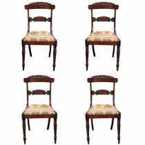 Group of 4 19th c. English Rosewood Saber Chairs – 34″H x 18″W x 18″D (Villa Melrose)