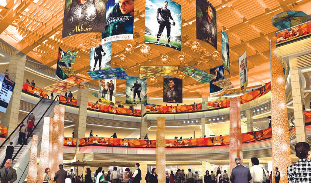 Graphics for mall as a wayfinding solution.