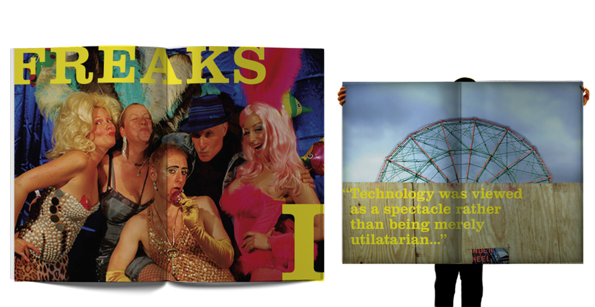 Supersize book about Coney Island with typography and layouts to mimic the irreverent nature of New York's famous beach