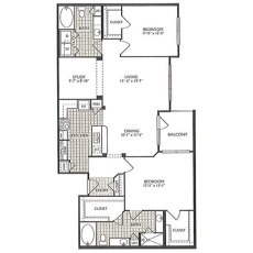 2222 Smith St Relaxation Floorplan 2-2 1375 sqft