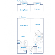 3616 Richmond The Westminster Floorplan 1-1 760-819 sqft