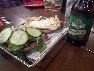 Cucumber Goat Cheese Chicken Sandwich & Summit Pilsner