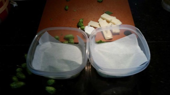 Step 2: Cover hops with parchment paper.