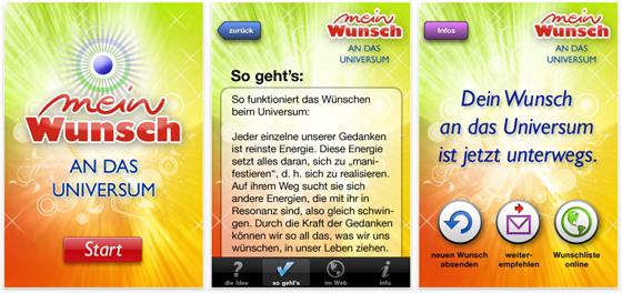 """Kurze Zeit kostenlos: App """"mein wunsch"""" für Wünsche ans Universum"""