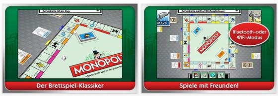 Kommt einem gleich bekannt vor: Monopoly auf dem iPhone oder iPod Touch spielen. Die bisherigen Käufer sind begeistert und bewerten das Spiel mit vier von fünf Sternen.