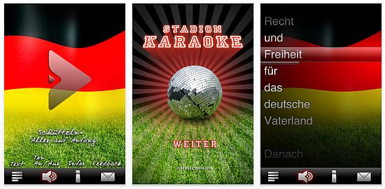 Screenshot Stadionkaraoke App für das iPhone