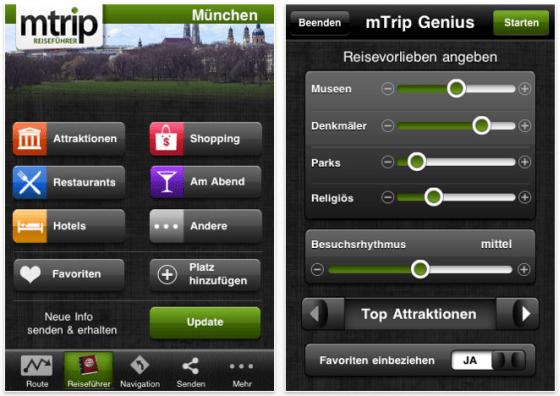 Screenshot mTrip Reiseführer München