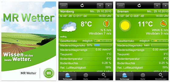 Screenshot iPhone App MR Wetter