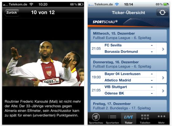 Sportschau App für iPhone und iPod Touch Screenshot