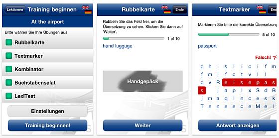 Pons Vokabeltrainer Trainer App für iPhone und iPod Touch - Screenshots