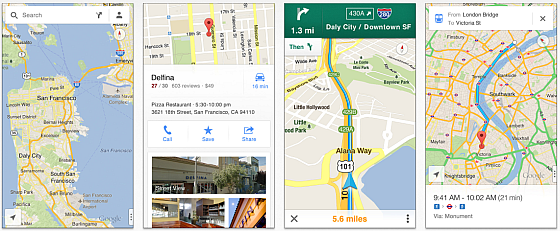 Die neue App Google Maps Screenshots