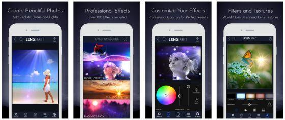 Mit Lenslight kannst Du Deine Bilder mit Lichteffekten ordentlich aufpeppen. Das geht ganz einfach und die App bringt viele frei verschiebbare Effekte mit.