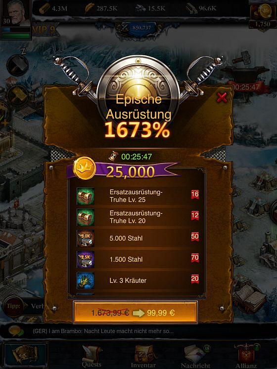 Ausrüstungsteile im angeblichen Wert von 1.673,99 Euro für nur 99,99 Euro - ein echtes Schnäppchen also... (Screenshot von Clash of Kings)