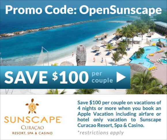 Save $100 per couple on vacations of 4 nights or more when you book an Apple Vacation including airfare or hotel only vacation to Sunscape Curacao.