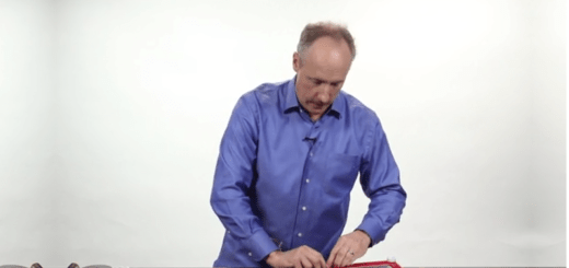 man making ipad out of household materials