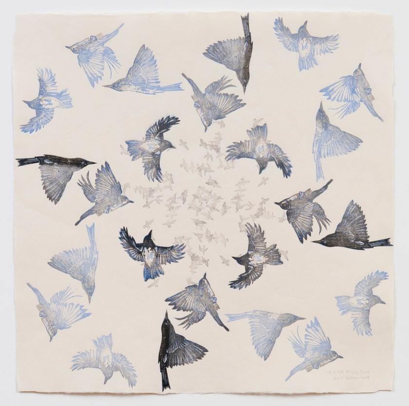 Flying Gyre #4, 2008, mokuhanga woodcut on washi, 26 x 26 inches