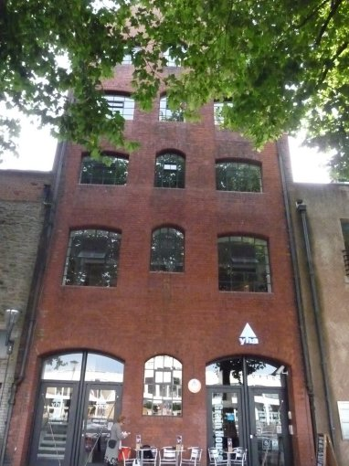 the hostel is a renovated warehouse in the harbor district