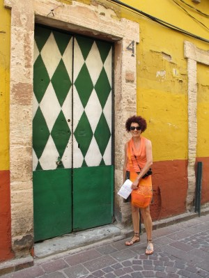 Christiane and a green door
