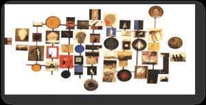 عمل لمحمد القاسمي: تنصيبة 200×300صم صالة عرض المنار 2003