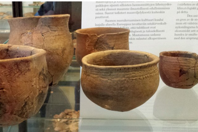 Examples of Finnish Corded Ware pottery at the National Museum. In the back is a beaker of typical continental shape and decoration. The smaller rounder beakers  are the common type in Sweden, but quite rare outside Sweden and  Finland. (Photo: Åsa M Larsson)