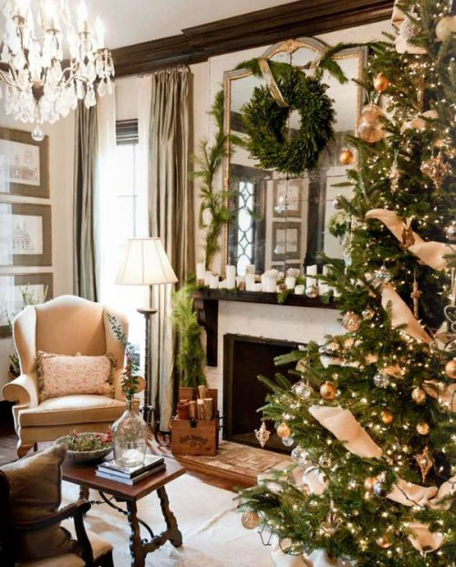 Gold Upholstered Chair and Christmas Tree